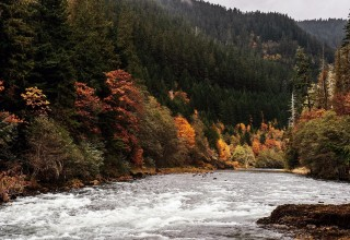 Autumn Scenic Drive Along the Clackamas River