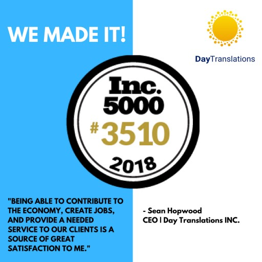 Day Translations, Inc. Ranks No. 3510 on the 2018 Inc. 5000  With Three-Year Revenue Growth of 107 Percent