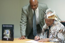 King Thomas Edgar Brown, monarch of the South African Khoisan Kingdom, signs a Tribal Resolution denouncing psychiatry's drugging of South African children with powerful mind-altering drugs.