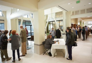 Guests gathered in the Public Information Center of the Church of Scientology