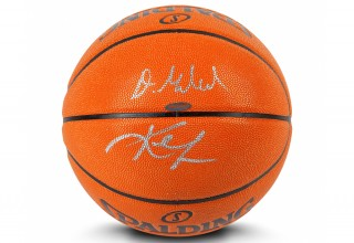 Darius Garland and Kevin Love Dual-Signed Basketball exclusively from Upper Deck