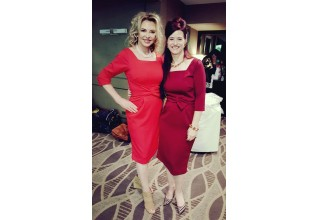 Laura T. Sharpe and Anne Devlin are stylish in their Classiqu' Era dresses