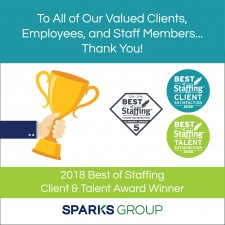 Sparks Group Has Been Selected to the 2018 Best of Staffing Client and Talent Lists!