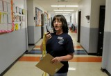 Debbie Childress, Pueblo County School District 70 Guidance Services Counselor, helps start a school evacuation exercise using SchoolSAFE Communications at Liberty Point Elementary School, Pueblo, Colorado.Debbie Childress, Pueblo County School District 70 Guidance Services Counselor, helps start a school evacuation exercise using SchoolSAFE Communications at Liberty Point Elementary School, Pueblo, Colorado.