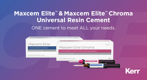 Maxcem Elite™ and Maxcem Elite™ Chroma Universal Resin Cements Significantly Simplify Inventory Requirements