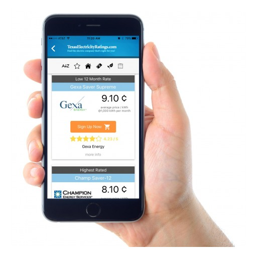 Texas Electricity Ratings Launches Mobile Shopping Apps
