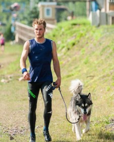 Ryan Atkins, World's Toughest Mudder, with his dog,