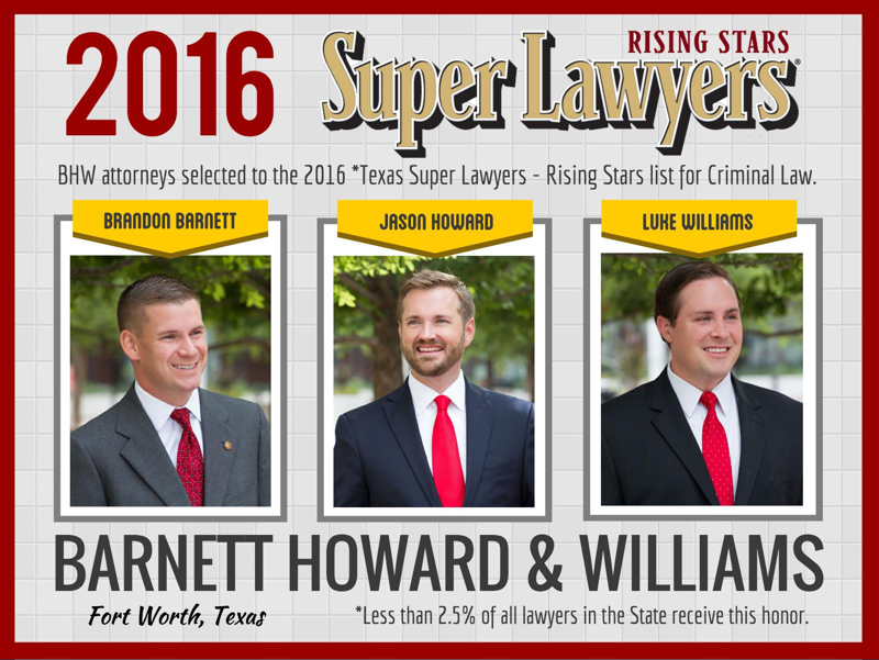 Fort Worth Criminal Defense Law Firm Selected to 2016 Texas