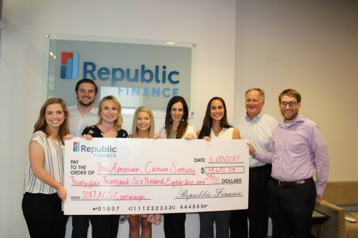Republic Finance Presents Employee-Raised Donation to American Cancer Society