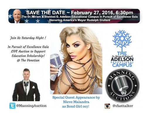 Adelson Campus in Pursuit of Excellence Gala - Keynote Speaker Mayor Giuliani in Las Vegas; Live Auction Hosted by Manning Auctions