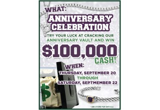 $100K Anniversary Giveaway flyer