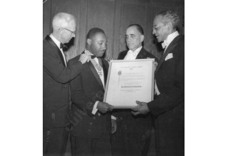 Dr. Martin Luther King receiving Philadelphia Citizens Award 1957 (Philadelphia Tribune)