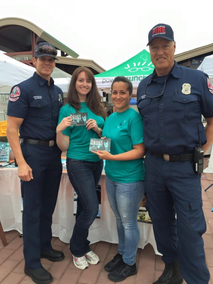 Drug-Free World volunteers work with Fire Department