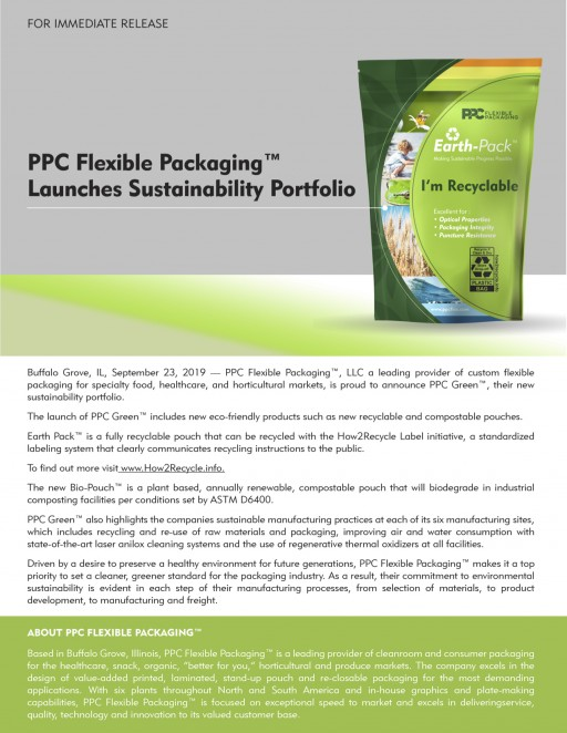 PPC Flexible Packaging™ Launches Sustainability Portfolio