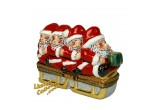 Group of 4 Santas on a Sled Exclusive Limoges Box | LimogesCollector.com