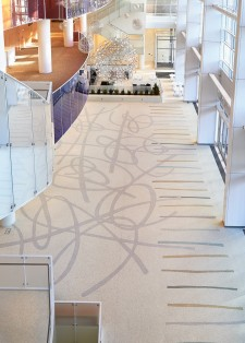The terrazzo floor in the grand lobby of the new George S. and Dolores DorÉ Eccles Theater in Salt Lake City