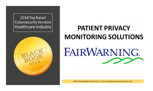 FairWarning Ranks Top in Patient Privacy Monitoring, 2018 Black Book Market Research Cybersecurity User Survey