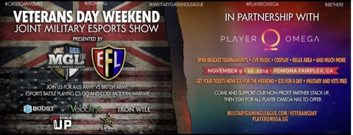 Military Gaming League to Host Allied Esport Tournament Between the US Army and British Army on Veterans Day Weekend for an Incredible Joint Military Esports Show at Player Omega