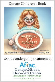 "GoFundMe children's book campaign badge, ""Warriors Eat Alphabet Soup"" by Meredith Villano, illustrated by Nataly Vits"