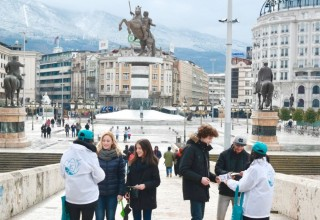 Drug-Free World Macedonia chapter hands out copies of Truth About Drugs booklets in Skopje's Macedonia Square.