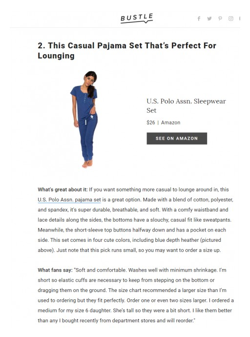 Bustle | 9 Cute Pajama Sets: This Casual Pajama Set That's Perfect For Lounging