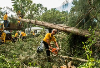 Using backhoes and chainsaws, Volunteer Ministers mean business clearing up fallen timber left by Irma.