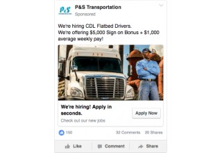 P&S Transportation's recruitment and visibility ads
