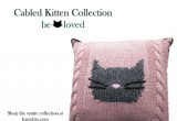 Cabled Kitten Pillow