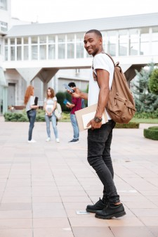Young man on college campus