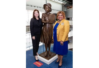 The bronze monument of Alice Allison Dunnigan, African American female journalist and member of Sigma Gamma Rho Sorority, was created by artist Amanda Matthews, a Kentucky native. The statue is on display at the Newseum in Washington, D.C., and will eventually be dedicated at the future Alice Dunnigan Memorial Park in Russellville, Kentucky, her hometown.
