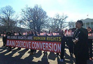 Protesters at White House call for ban of coercive conversion programs