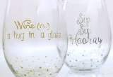 Stemless Hand Painted Wine Glasses