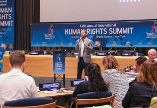 Will Seabrook spoke at the 14th annual Human Rights Summit of Youth for Human Rights at the United Nations in 2017.
