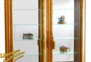 Italian Gold-Leaf Wall-Mount Vitrine Curio Display Cabinet offered exclusively at LimogesCollector.com