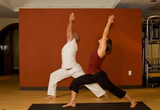 Glenwood Hot Springs yoga in session