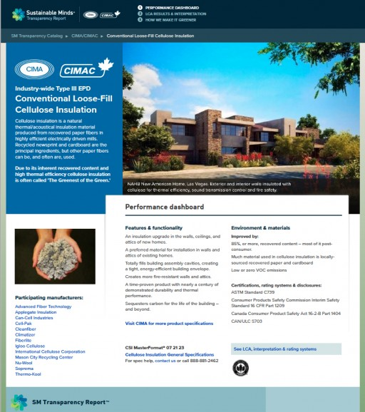 Cellulose Insulation North American Environmental Product Declaration