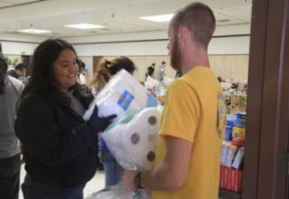 Bringing supplies to shelters for evacuees