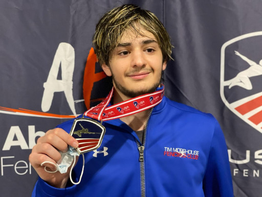 Tim Morehouse Fencing Club Fencer Nickoloz Lortikipanidze Wins Gold at the Junior Olympics