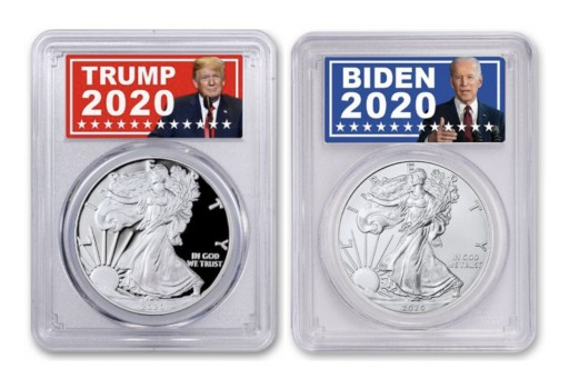 Trump and Biden Labels on Silver Eagle Coins Become a Popular Way to Commemorate a Historic Election Season