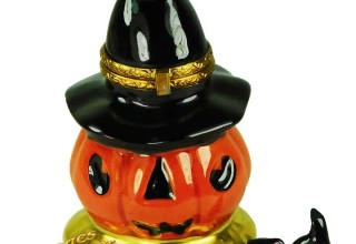 Halloween Jack-O-Lantern with Witch Hat & Black Cat Limoges Box by Beauchamp Limoges