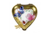 24K Gold Heart with Butterflies French Limoges Box | LimogesCollector.com