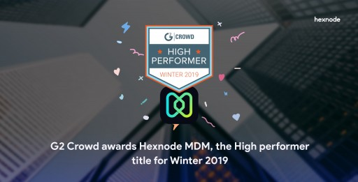 G2 Crowd Awards Hexnode MDM, the High Performer Title for Winter 2019 in the Enterprise Mobility Management Category