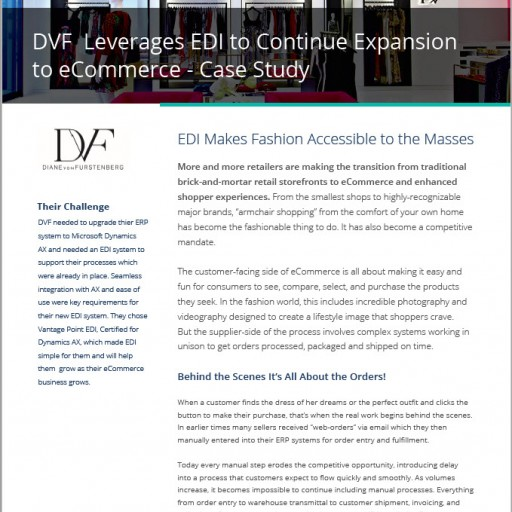 Diane von Furstenberg Selects Data Masons' EDI Made Simple® Solution for Microsoft Dynamics AX to Streamline Order Processing