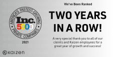Kaizen Ranks on Inc 5000