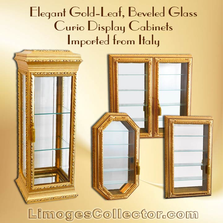 Italian Gold Leaf Beveled Glass Curio Vitrine Display Cabinets Offered  Exclusively At LimogesCollector.com