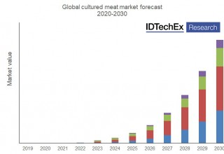 "Global cultured meat forecast. (Source: IDTechEx report ""Plant-based and Cultured Meat 2020-2030"")"