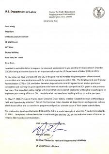 US Dep of labor Acknowledging - Orthodox Jewish Chamber of Commerce