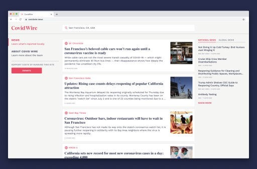 Covid Wire Launches, a Platform Easing Access to Local COVID-19 News