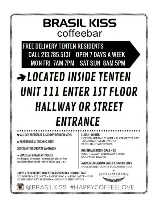 TENTEN Wilshire Invites Tenants for Brasil Kiss Coffeebar