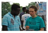 Say No to Drugs Association volunteer in Brussels introduces The Truth About Drugs initiative to one of athletes participating in the Navétane 2016 Football Tournament.